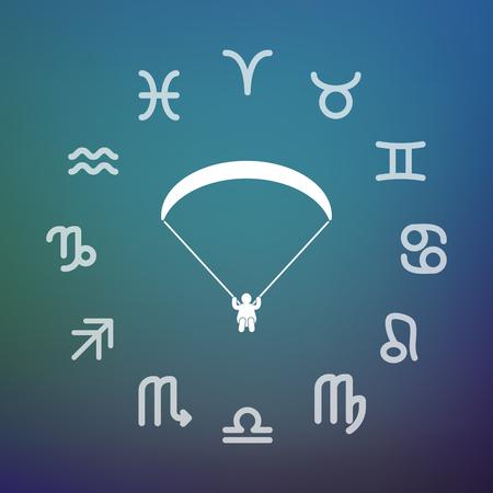 Signes horoscope cercle avec un parapente Banque d'images - 88117158