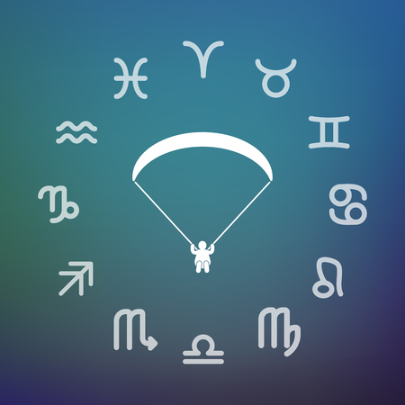 Horoscope signs circle with a paraglider