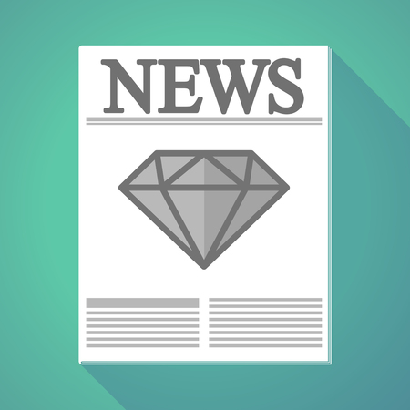 Illustration of a long shadow newspaper with a diamond. Иллюстрация