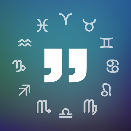 Horoscope signs circle with  quotes. 向量圖像