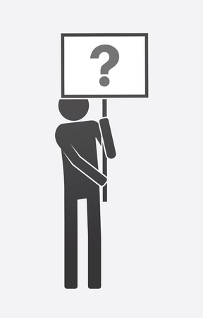 Illustration of an isolated demonstrator bringing a banner with a question sign. Çizim