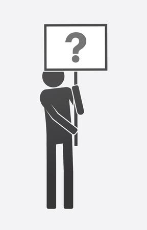 Illustrazione di un dimostratore isolato portando un banner con un segno di domanda. Archivio Fotografico - 88118350