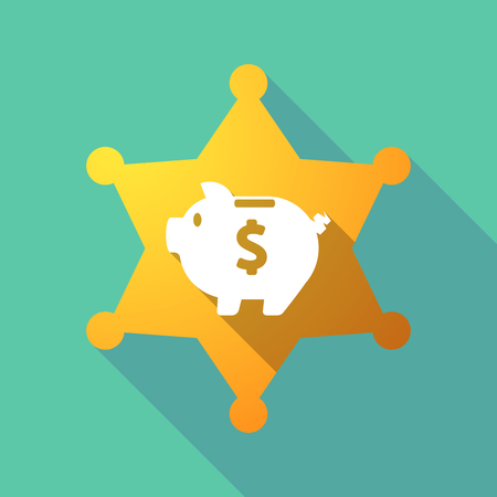 Illustration of a long shadow sheriff star with a piggy bank. Illustration