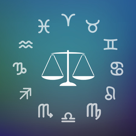 Horoscope signs circle with a justice weight scale sign.