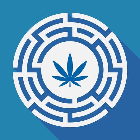 Illustration of a long shadow labyrinth with a marijuana leaf