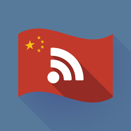Illustration of a long shadow waving China flag with an RSS sign