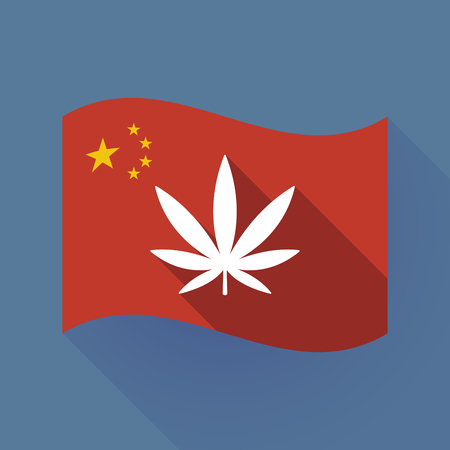 Illustration of a long shadow waving China flag with a marijuana leaf Illustration