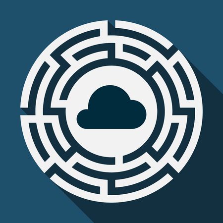 Illustration of a long shadow labyrinth with a cloud Illustration