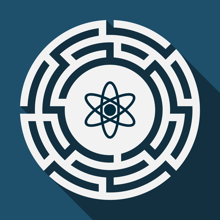 Illustration of a long shadow labyrinth with an atom