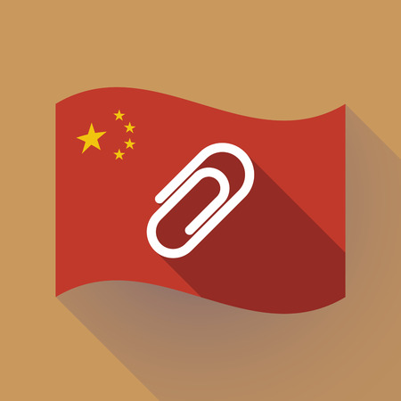 Illustration of a long shadow waving China flag with a clip