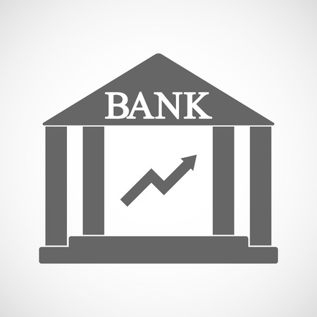 Illustration of an isolated bank icon with a graph