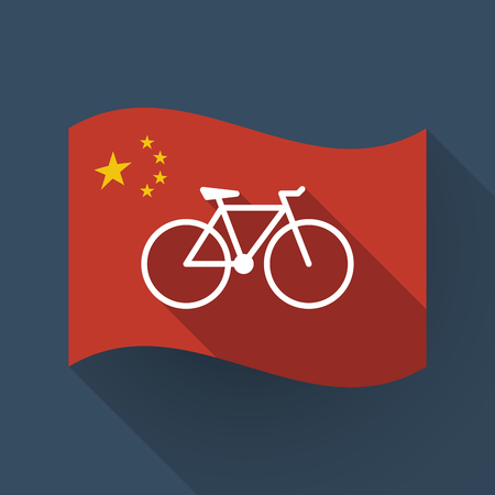 Illustration of a long shadow waving China flag with a bicycle