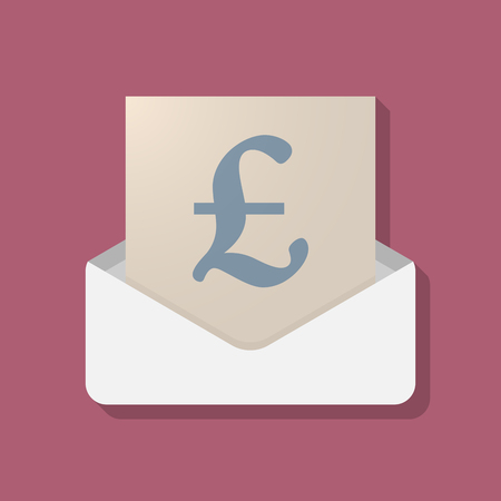 Illustration of a long shadow opened letter with a pound sign