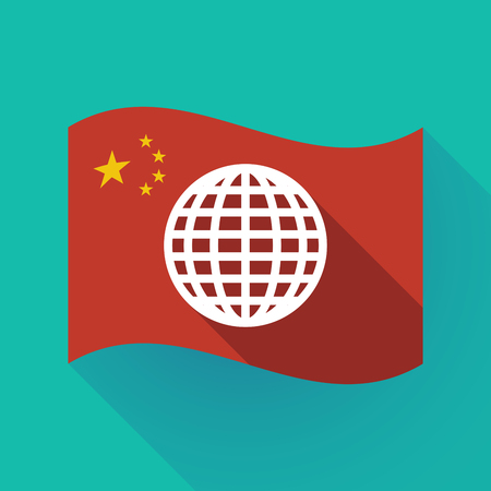 Illustration of a long shadow waving China flag with a world globe
