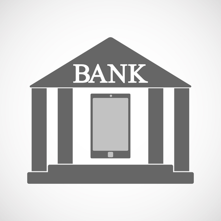 Illustration of an isolated bank icon with a smart phone Ilustração