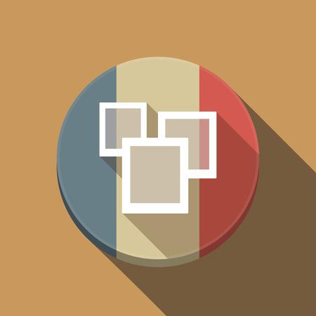 フランスの長い影のイラスト ラウンドいくつかの写真とボタン フラグ