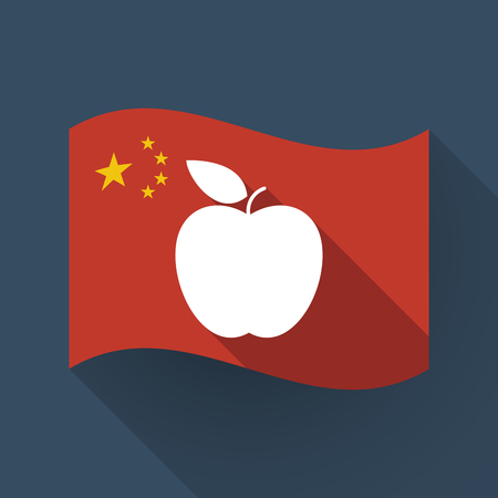 Illustration of a long shadow waving China flag with an apple