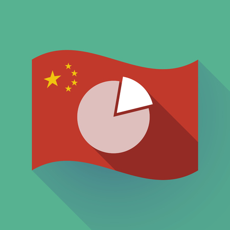 Illustration of a long shadow waving China flag with a pie chart Ilustração