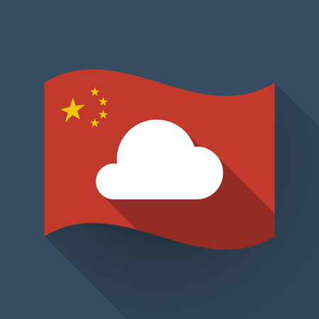 Illustration of a long shadow waving China flag with a cloud