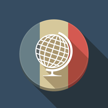 Illustration of a long shadow France round button flag with  a table world globe Ilustração