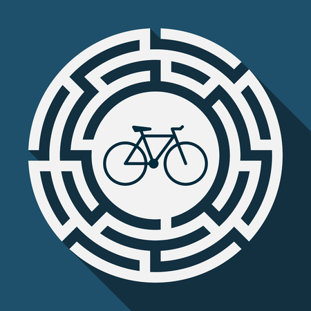 Illustration of a long shadow labyrinth with a bicycle Ilustração