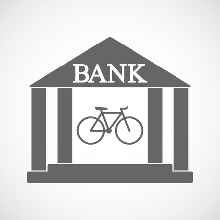 Illustration of an isolated bank icon with a bicycle