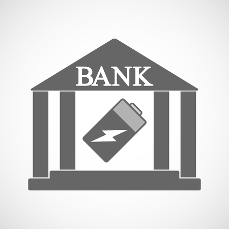 Illustration of an isolated bank icon with a battery