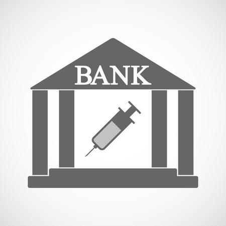 Illustration of an isolated bank icon with a syringe Ilustração