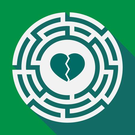 Illustration of a long shadow labyrinth with a broken heart Ilustração