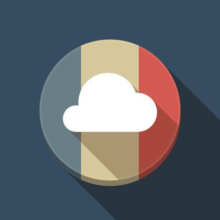 Illustration of a long shadow France round button flag with a cloud Ilustração