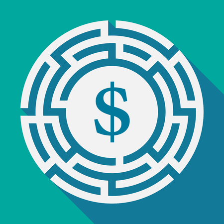 Illustration of a long shadow labyrinth with a dollar sign