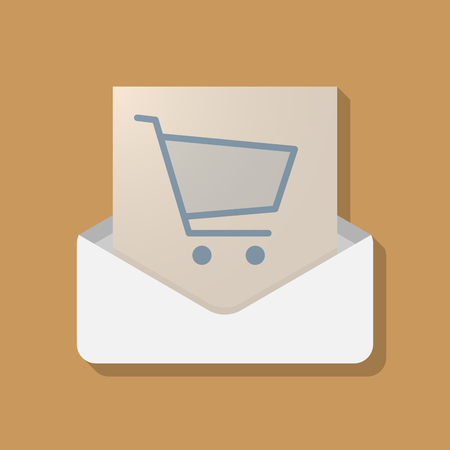 Illustration of a long shadow opened letter with a shopping cart