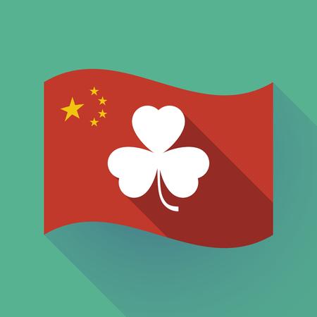 Illustration of a long shadow waving China flag with a clover Ilustração