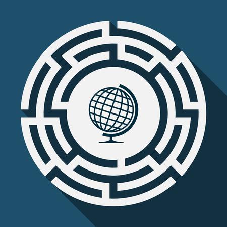 Illustratie van een lang schaduwlabyrint met een wereld van de lijstwereld