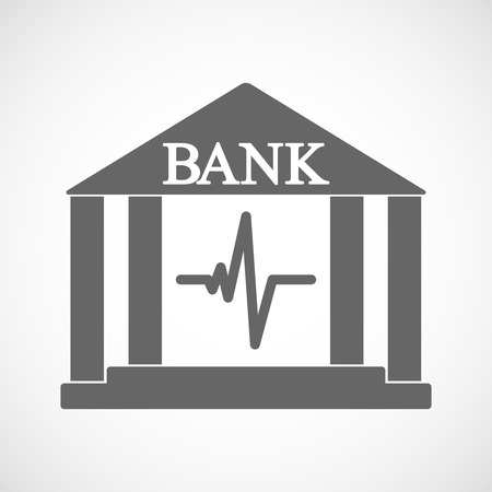 Illustration of an isolated bank icon with a heart beat sign