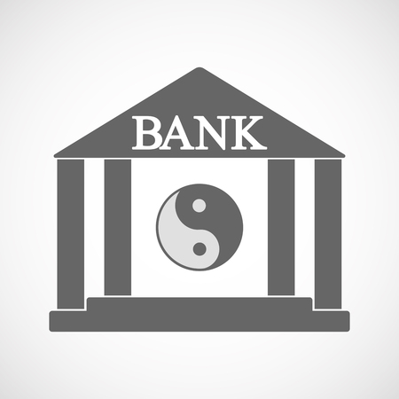Illustration of an isolated bank icon with a ying yang Ilustração