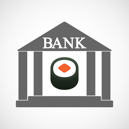 Illustration of an isolated bank icon with a piece of sushi maki