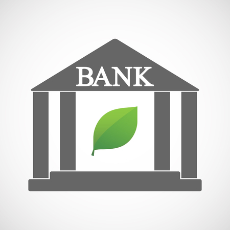 Illustration of an isolated bank icon with a green  leaf