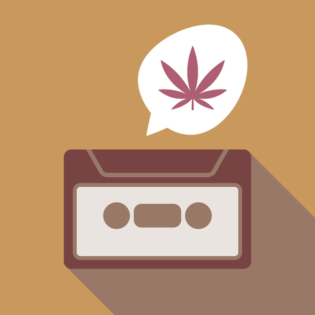 Illustration of a long shadow vintage cassette and a comic balloon with a marijuana leaf