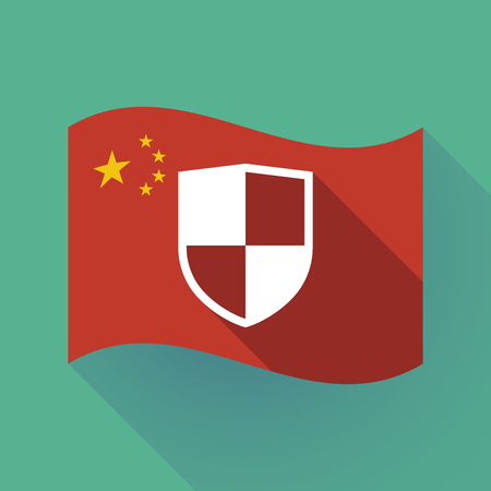 Illustration of a long shadow waving China flag with a shield