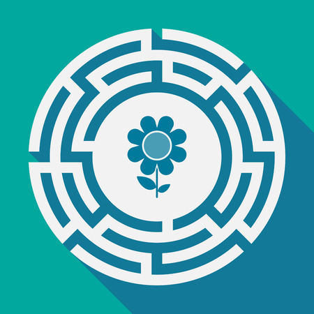 Illustration of a long shadow labyrinth with a flower