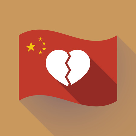 Illustration of a long shadow waving China flag with a broken heart