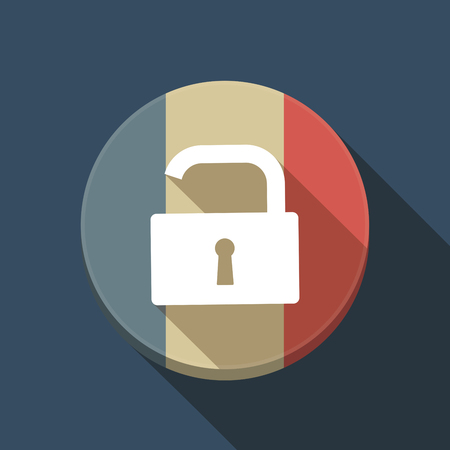 Illustration of a long shadow France round button flag with an open lock pad Ilustração