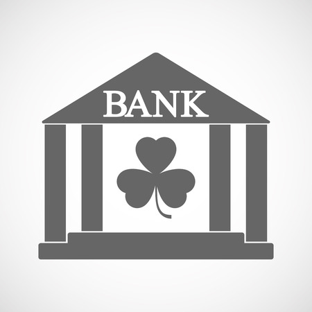 Illustration of an isolated bank icon with a clover