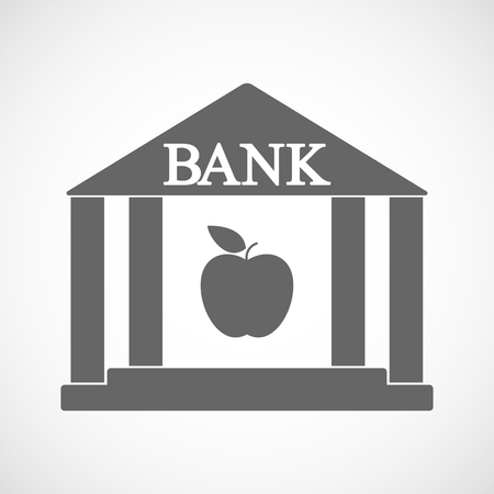 Illustration of an isolated bank icon with an apple
