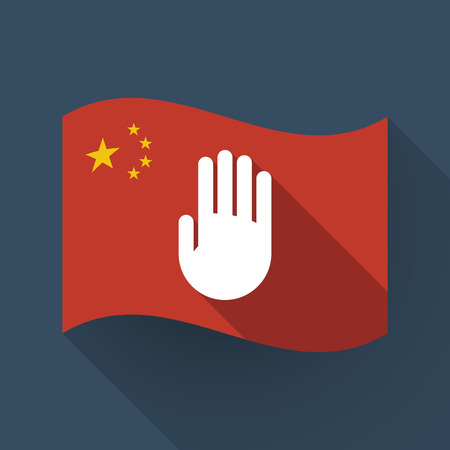 Illustration of a long shadow waving China flag with a hand