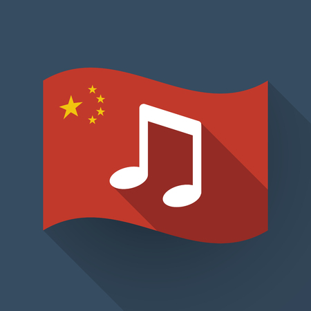 Illustration of a long shadow waving China flag with a note music