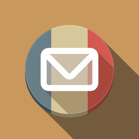 Illustration of a long shadow France round button flag with an envelope Ilustração