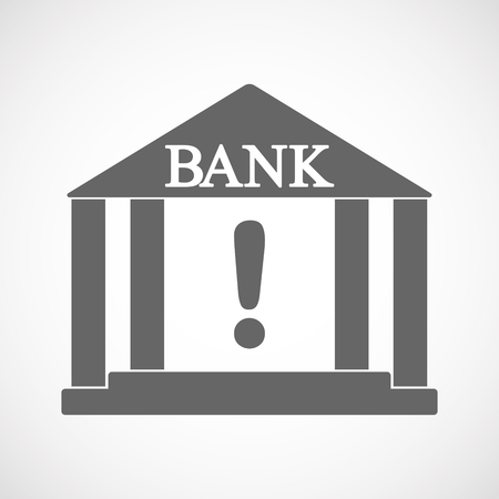 Illustration of an isolated bank icon with an exclamation sign