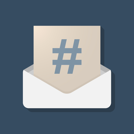 Illustration of a long shadow opened letter with a hash tag